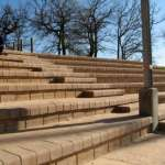 Terraforce 4 x 4 Multi Step blocks in combination with retaining blocks provide seating at the Pniel sports arena in Stellenbosch, Western Cape.