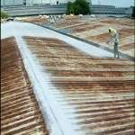 a.b.e's new abeproof thermoshield, shown here during and after application, can limit the interior build-up of heat as well as serving as a waterproofing agent.