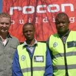 GMBA H&S specialist, Paul Adams (right), on a recent H&S on-site support visit to association member, Rocon Building. With him are (from left): Romano Cavina of Rocon and Innocent Thaele, GMBA trainee safety officer.