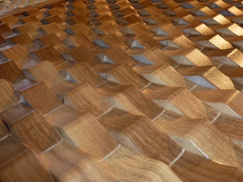 Trends noted at Cersaie 2012 include: 3D ceramics, shown here in a wood lookalike finish.