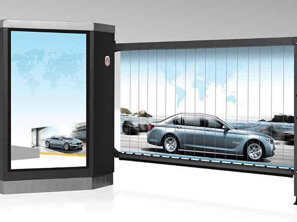 Boomgate advertising barrier for access control and outdoor advertising
