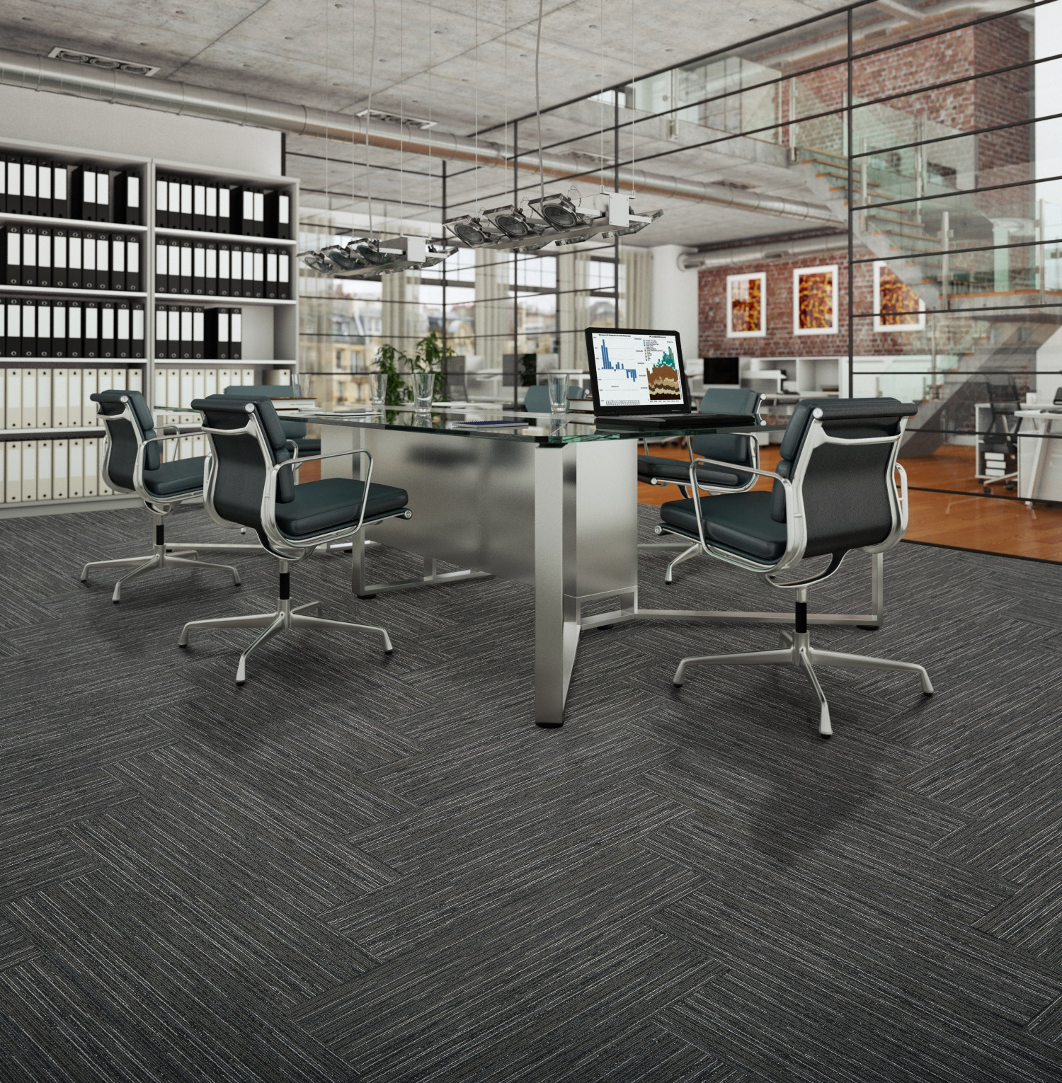 Belgotex carpet tiles in plank dimensions for International collection