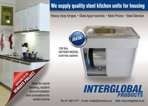 Interglobal products adds steel kitchen unit with geyser for Kitchenette units south africa