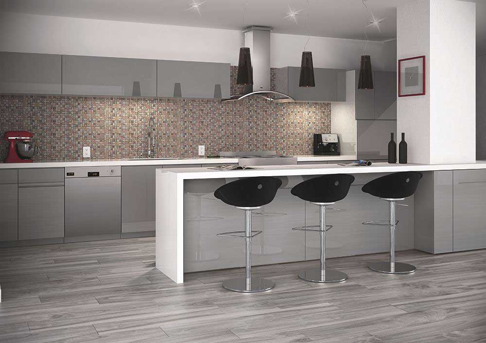 Use porcelain wood look tiles for a wooden flooring effect in the bathroom
