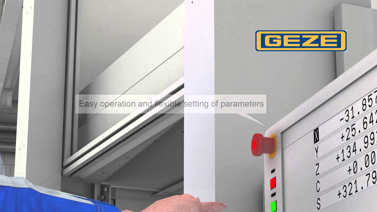 GEZE machine safety door