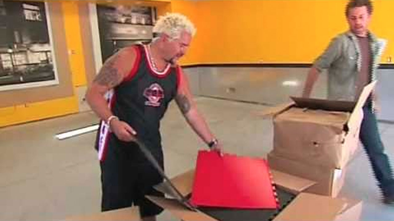 Guy Fieri's Garage Mahal makeover featuring Tuff Seal Tile