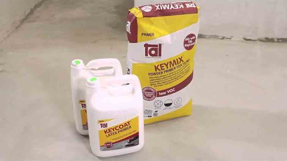 How to prime a surface before tiling using Tal Keymix