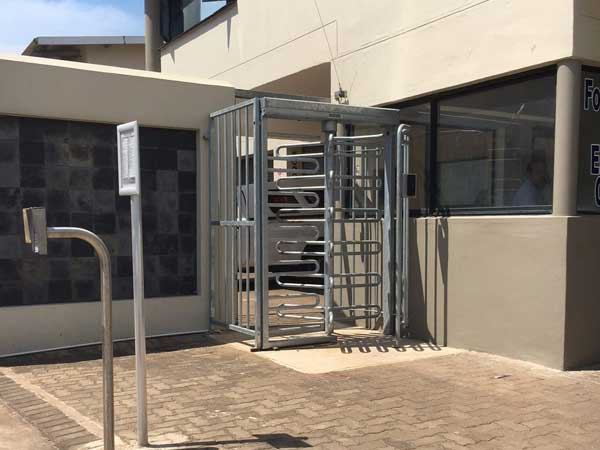 Robust turnstile controls access in industrial estate