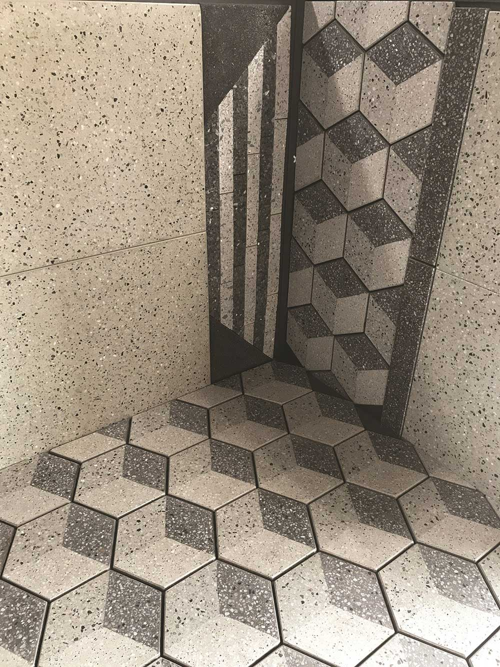 Hexagonal tiles with 3d effect by Union Tiles