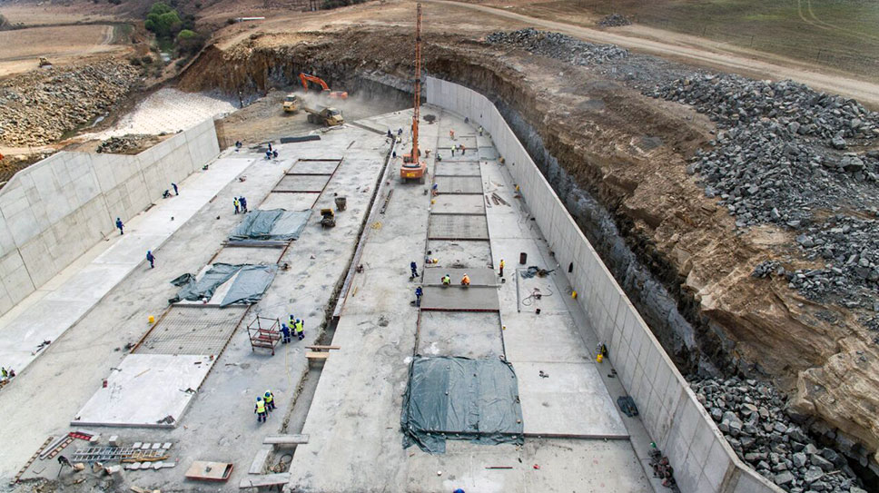 Various Sika concrete repair and protection products used in Cornelis River Dam project