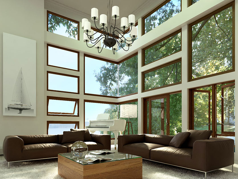 Full pane wooden windows are available from Swartland