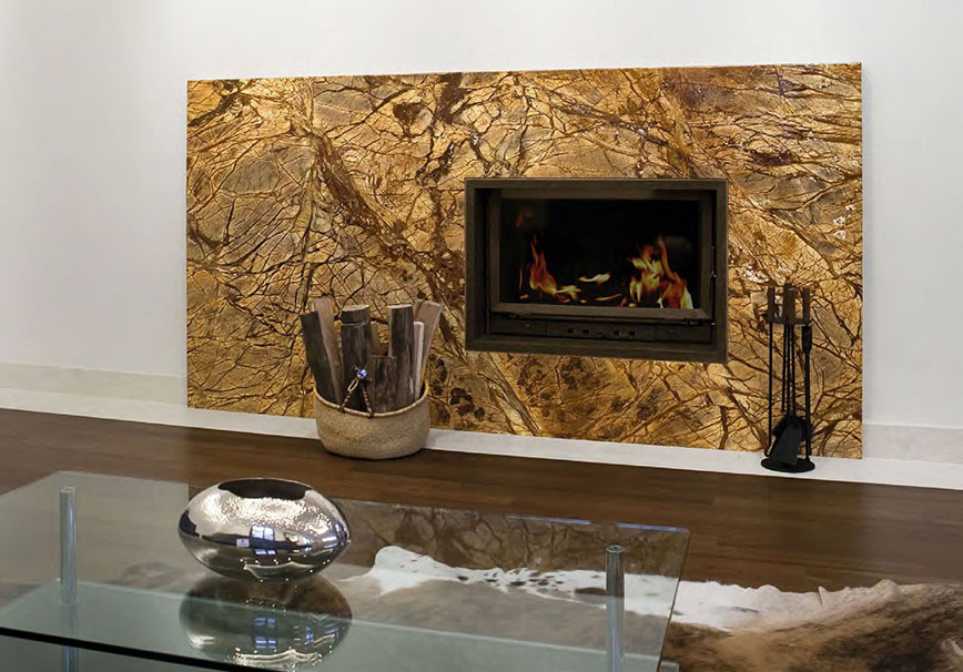 Marble fireplace in Rainforest Brown