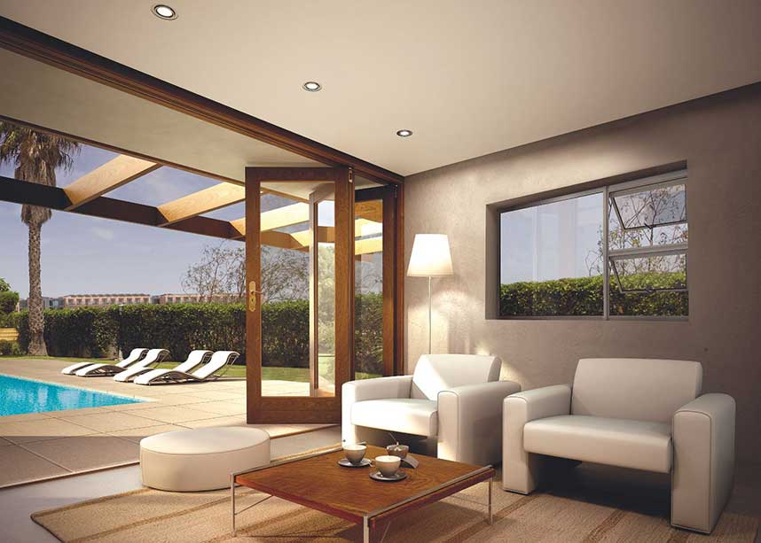 An overhang above timber doors offers added protection