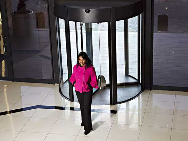 Controlling access with prestige revolving doors