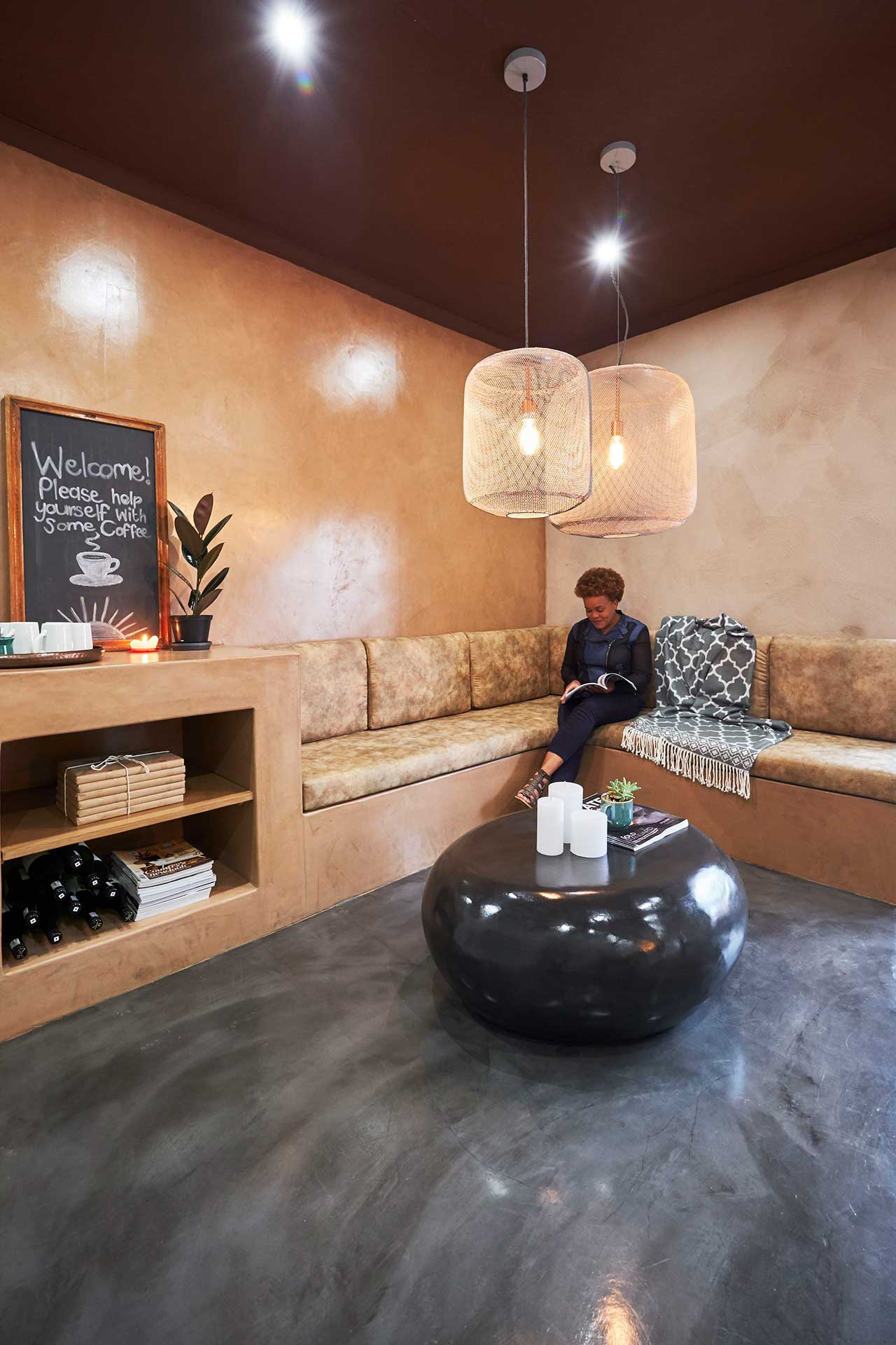 Cemcrete TPC paint in cocoa for an unusual ceiling effect