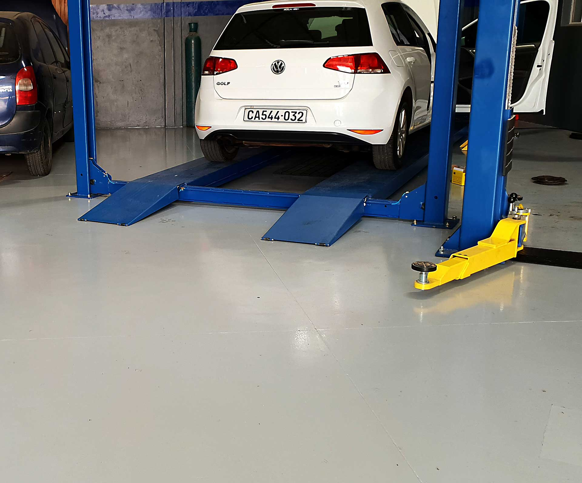 a.b.e. flooring products used to upgrade concrete floors at tyre fitment centre