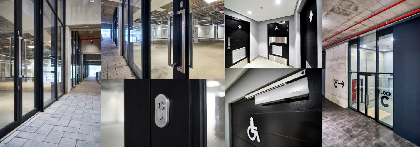 Geze door closers ensure safety and security at Park Square office park and shopping centre