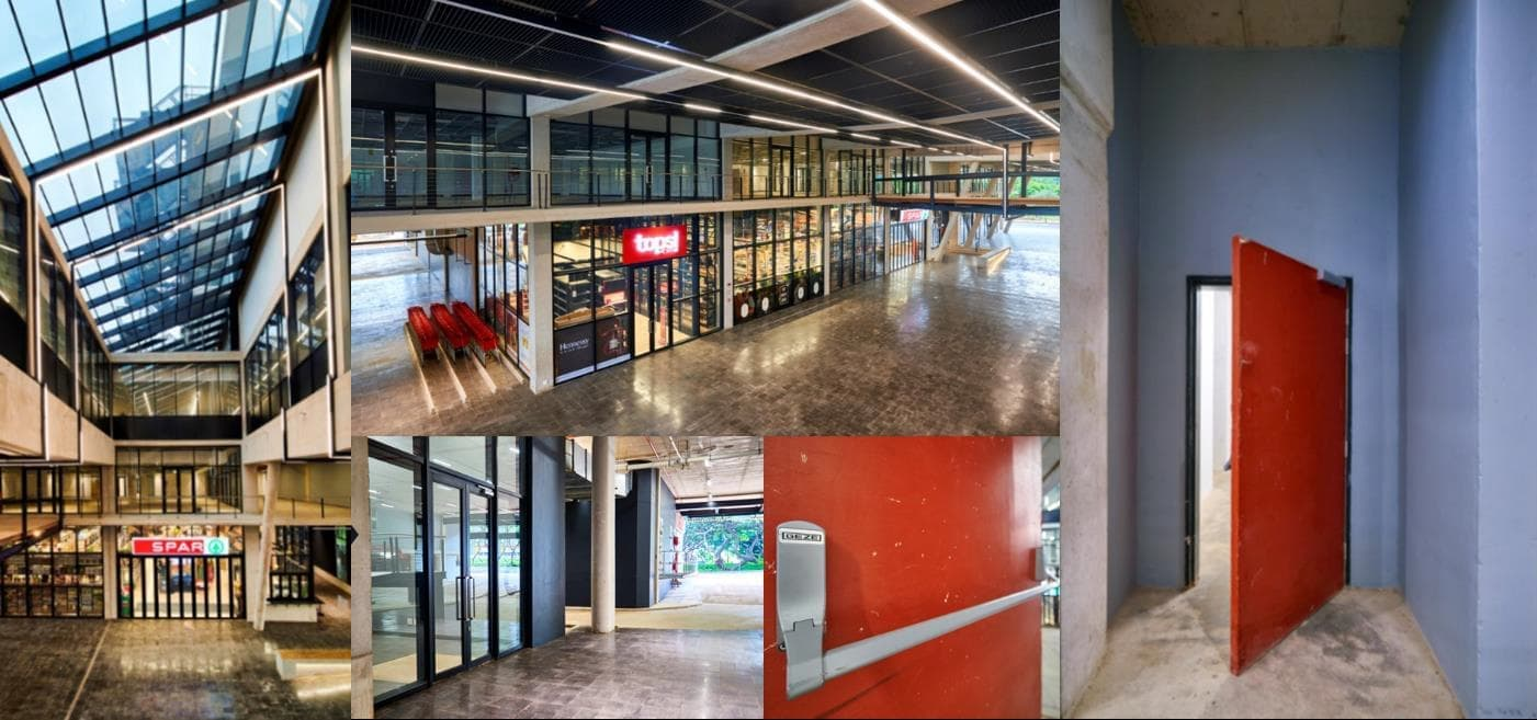GEZE fire doors and openers are essential for office parks and shopping malls and were used in Park Square