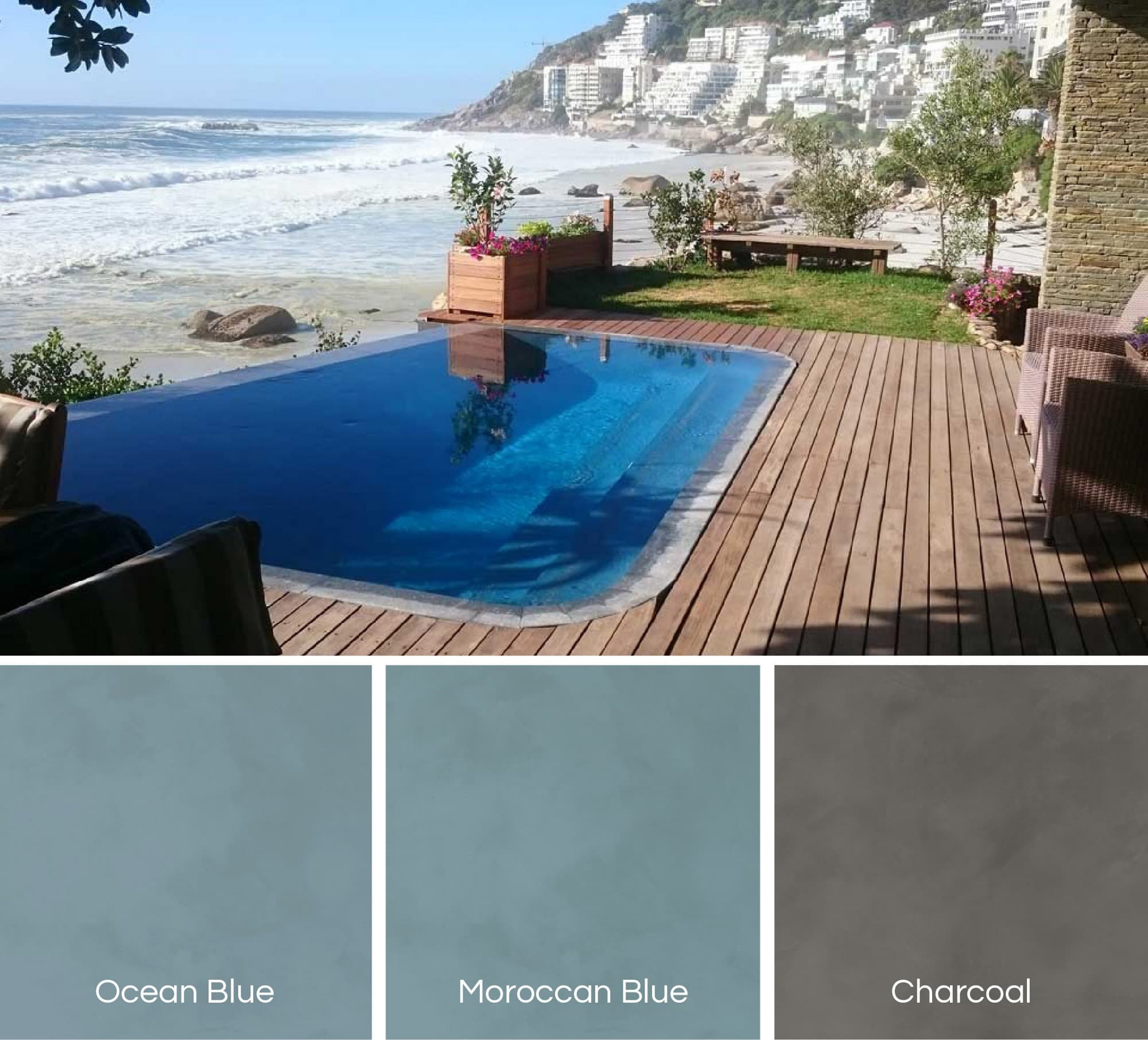 Cemcrete Poolcrete marble pool plaster also available in darker shades of blue and charcoal