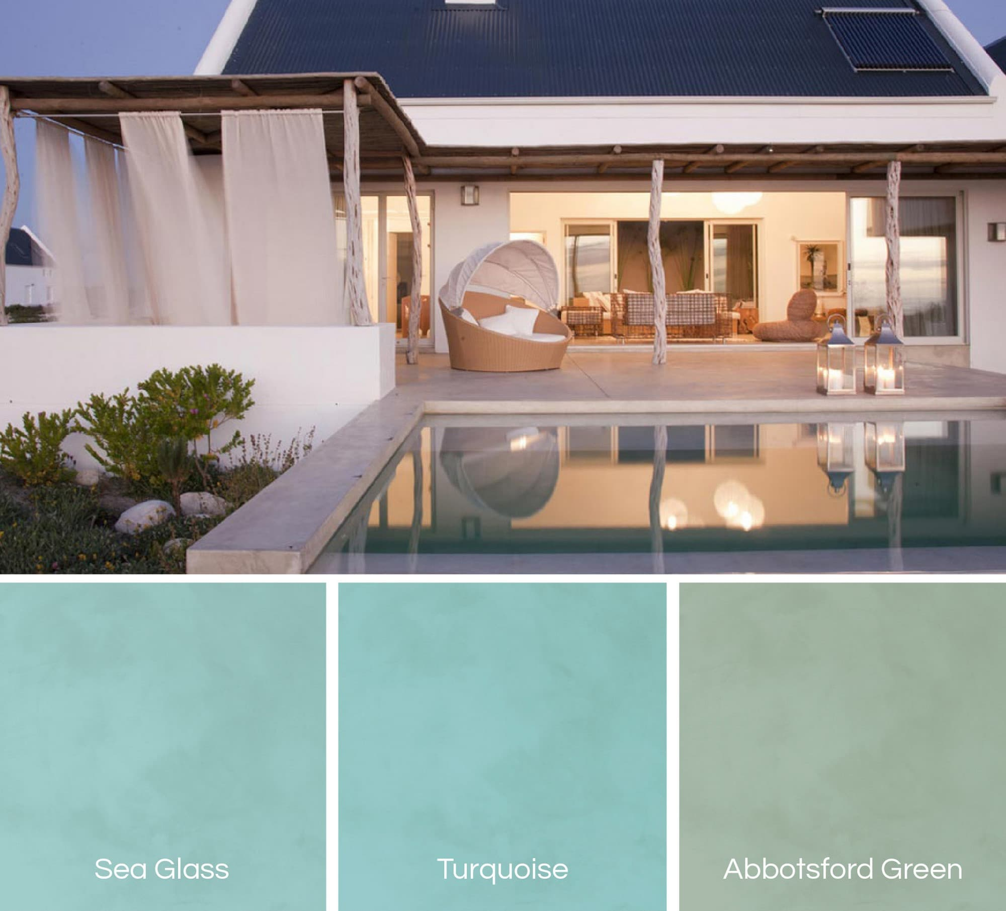 Swimming pools in green shades of Cemcrete Poolcrete pool plasters