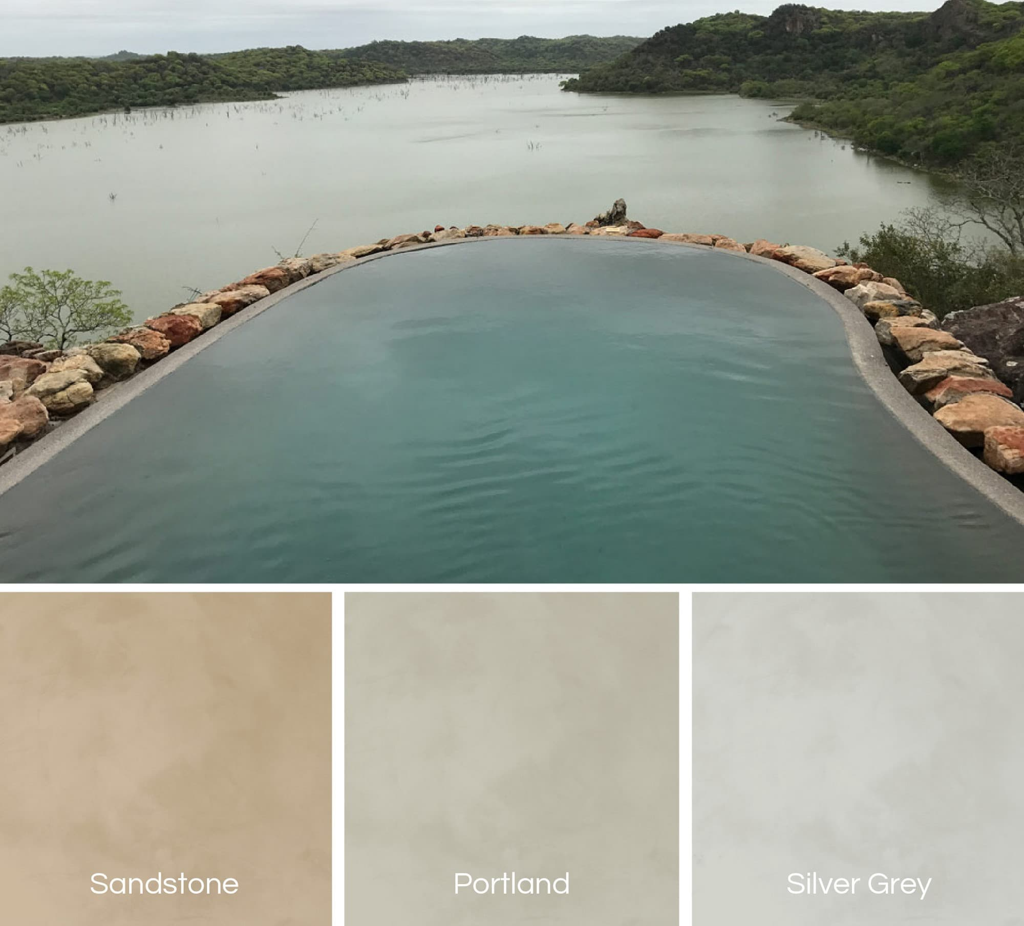 Natural shades of Cemcrete Poolcrete pool plasters