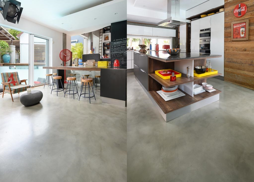 Contemporary Retro kitchen trend using Cemcrete floor and ceiling coatings