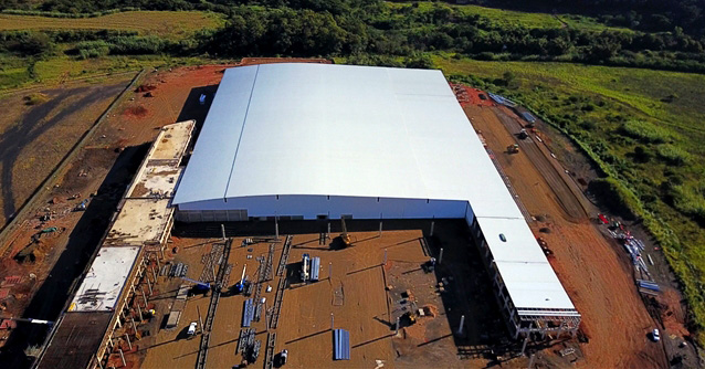 Printing facility roofed and clad in profiled steel sheeting