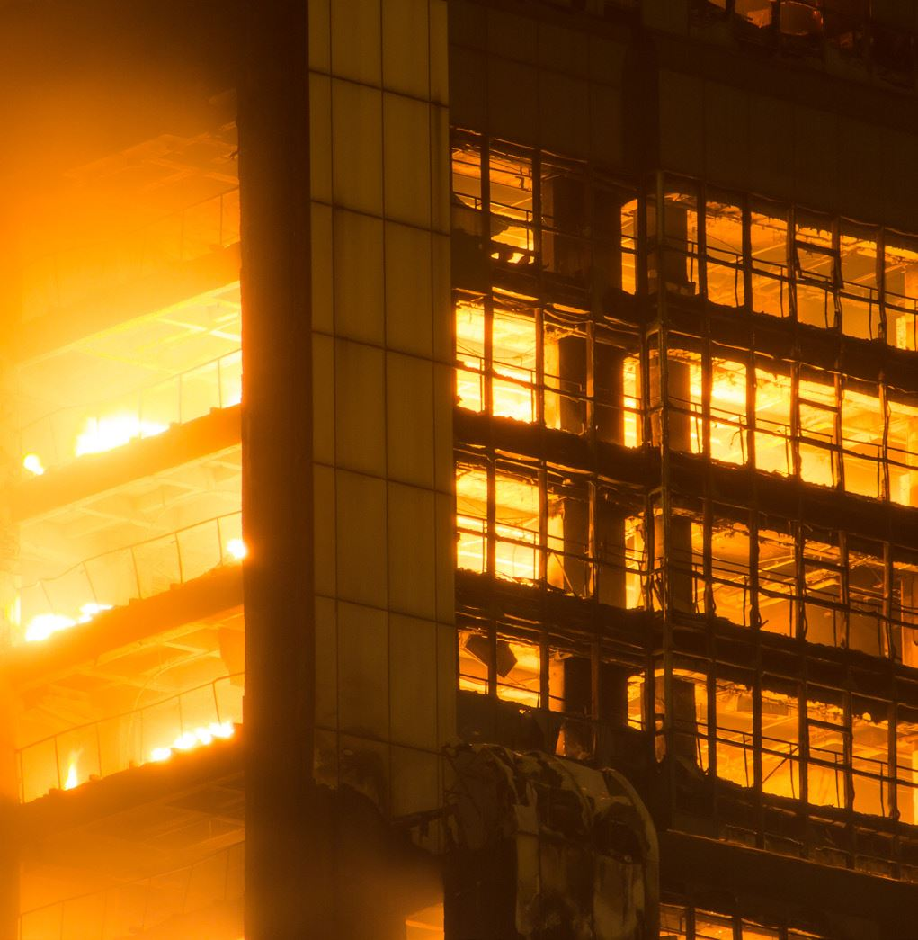 Alubond A2 fire-rated panels and NFPA 285 compliant wall assembly could have prevented this building fire