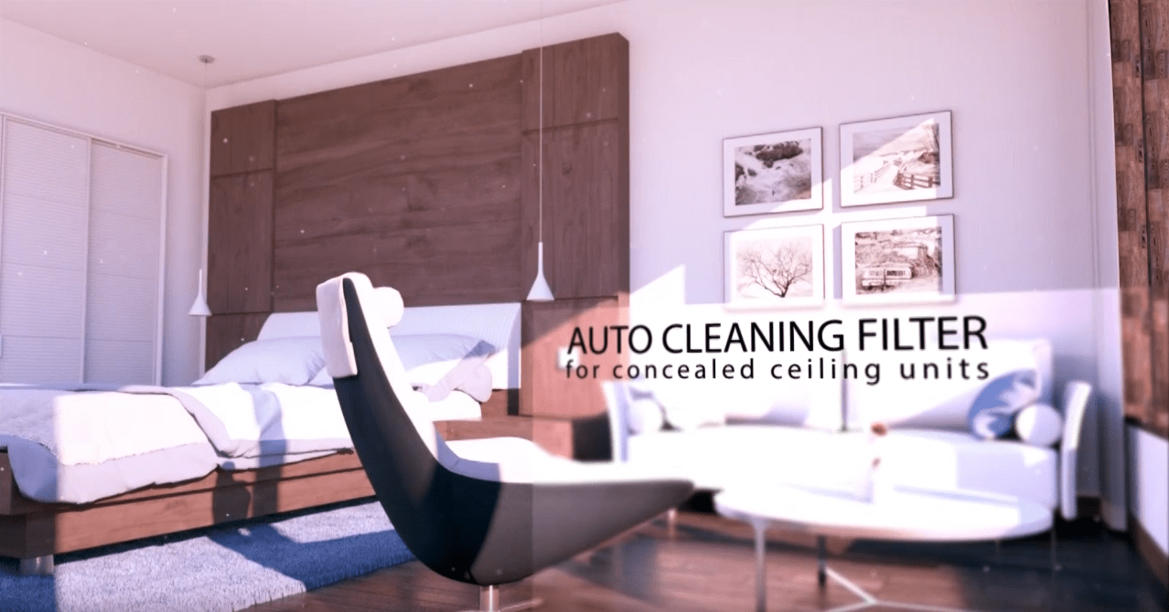 Auto cleaning filter for concealed ceiling units