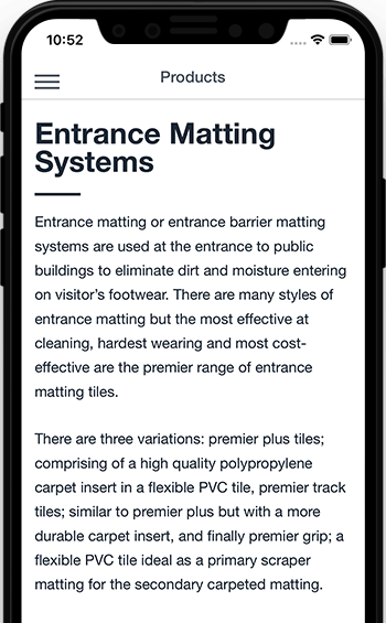 entrance matting systems app information from Matco