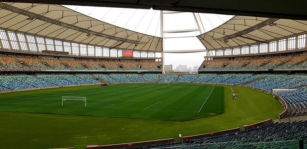 The newly refurbished outer field at Moses Mabhida Stadium