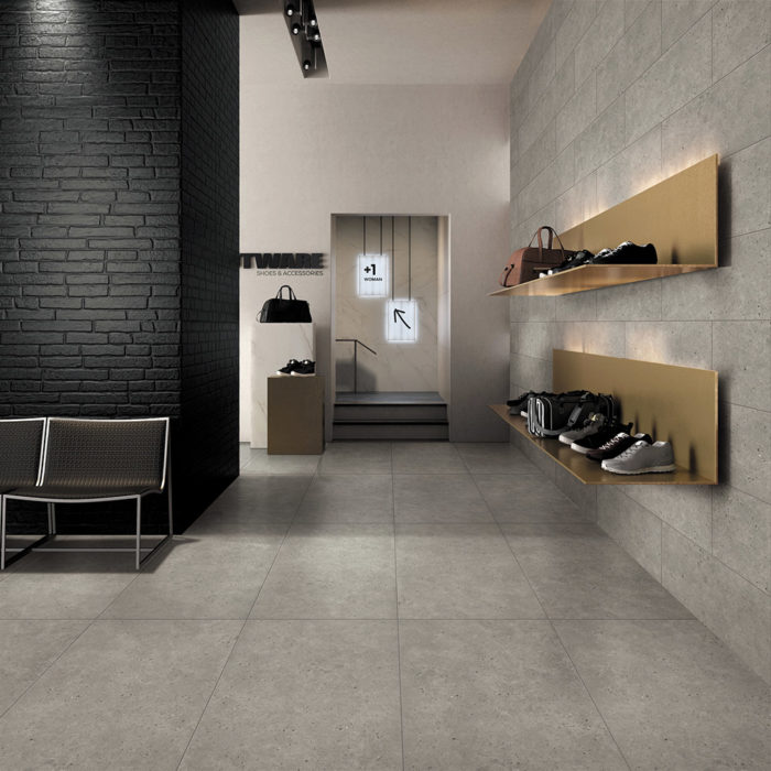 porcelain tiles on floors and walls in store