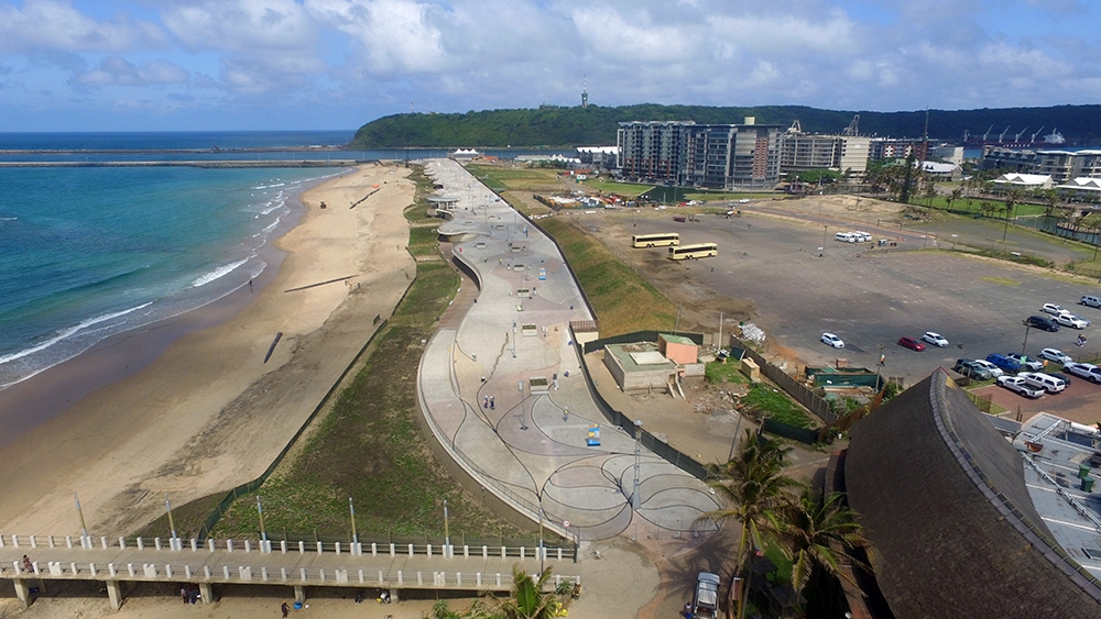 Durban beachfront promenade, the longest in South Africa Sika products used in renovation and repair of the cantilever curve