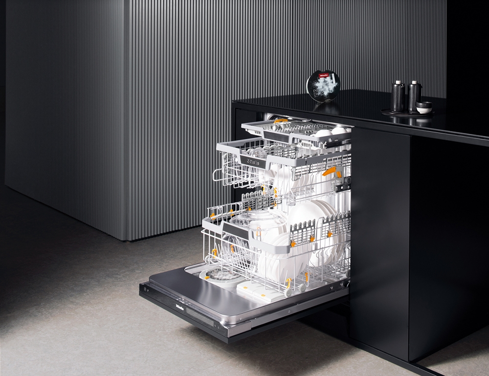 Miele dishwasher built-in dishwasher with black cabinetry