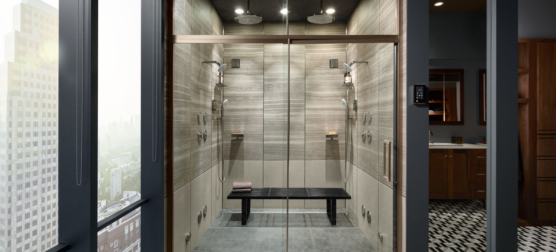 smart showering experience, voice command control for personalised steam, music, light and water tempreture