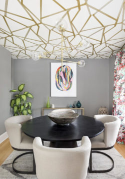 decorative ceiling gold pattern dining room