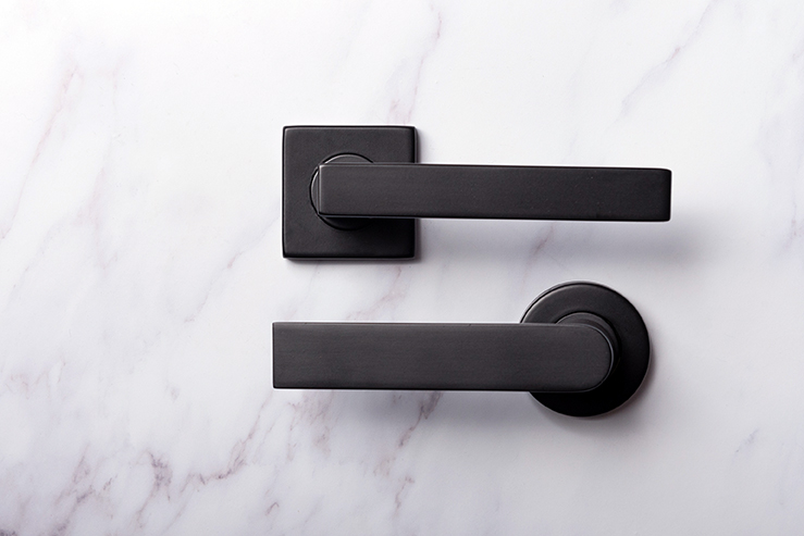 Matte black door furniture