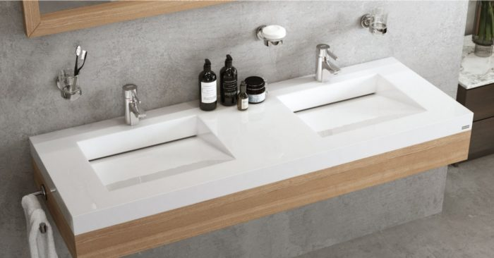 two white sinks bathroom design