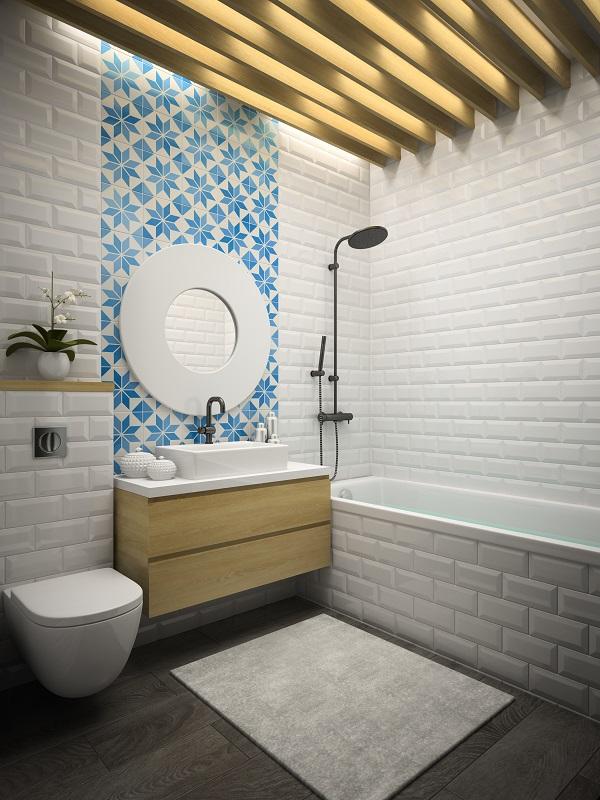 subway tile walls in bathroom