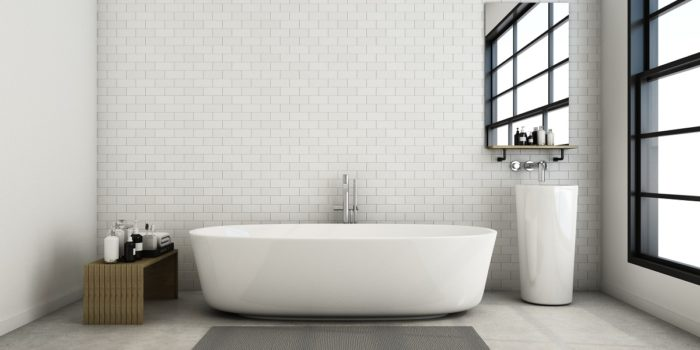 white and grey hues in bathroom trends